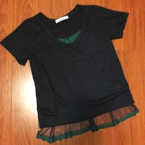 Sacai Luck Scoop Neck Lace T-shirt